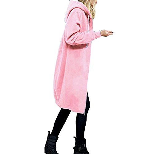 OverDose Damen Herbst Winter Outing Stil Frauen Warm Reißverschluss Öffnen Clubbing Dating Elegante Hoodies Sweatshirt Langen Mantel Jacke Tops Outwear Hoodie Outwear(Rosa,EU-42/CN-XL)