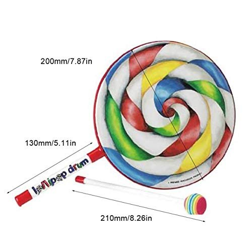 NewIncorrupt Rainbow Blow Lollipop Drum Orff Instrumento Musical Música para niños Juguete de percusión Jardín de Infantes Ayudas para la enseñanza temprana