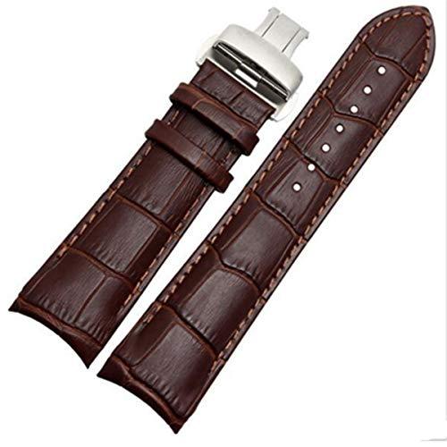 Correa de Reloj de Extremo Curvado de Cuero Hecho a Mano 22 mm 23 mm Correa de Reloj de 24 mm Pulsera de Acero con Hebilla, con Hebilla marrón, 22 mm