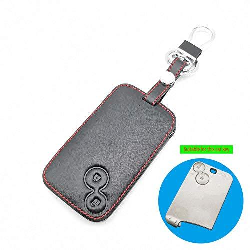 DDZKA Autoschlüssel Abdeckung Neue Stile Leder Car Cover Case Wallet Holder für Renault Laguna 2 Tasten Smart Remote Fob Schlüsseletui Car-Cover, schwarz