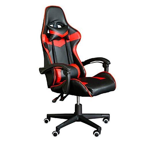 Tägliche Ausrüstung Computerspielstuhl Game Racing Office Hochlehner PU-Leder-Computertisch Drehbarer Bürostuhl mit Fußstütze (Farbe: Blau Größe: 70X70X116CM)