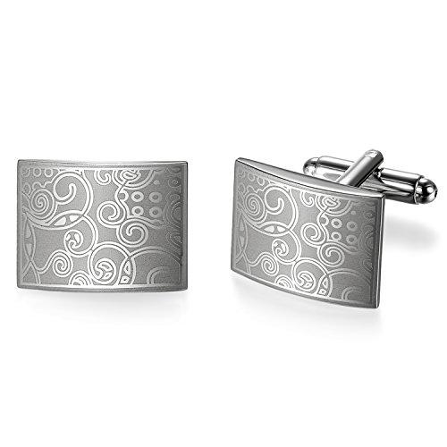 JewelryWe Schmuck Herren Fashion Manschettenknöpfe Cufflinks Klassische Blumen Laser Muster Manschettenknopf Silber
