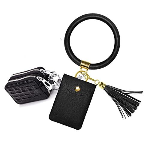 Llavero para pulsera, llavero de doble cubierta para llave de coche, con borla y anillo de pulsera, para mujer