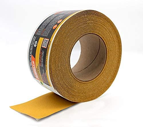 Fandeli, 36550, rollo de papel de lija, longboard abrasivo de grano 80, papel premium de óxido de aluminio PSA, 20 yardas, 2-3/4 pulgadas, hoja continua autoadhesiva