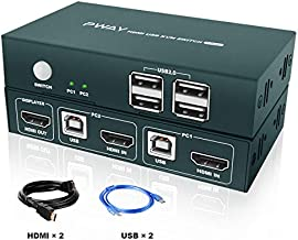 KVM Switch HDMI 2 Port, 4 USB 2.0 Hub, UHD 4K@30Hz, Support Wireless Keyboard and Mouse, No Power Require, with HDMI and USB Cables