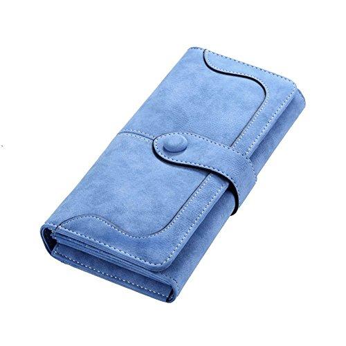 Minetom Damen Leder Geldbeutel Portemonnaie mit Reißverschluss Lange Kartenhalter Geldbörse Lady Clutch Handtasche (Hellblau)