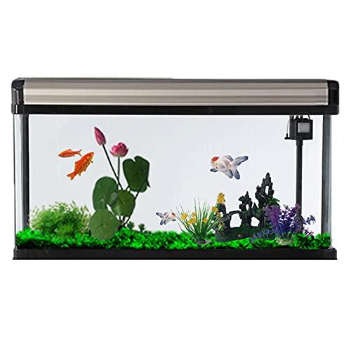 DUTUI Rechteckiges Wohnzimmer Desktop Glas Aquarium, Automatisches Aquarium, Kein Wasserwechsel, Geeignet Für Home Office Wohnzimmer, Gold Aquarium,60cm
