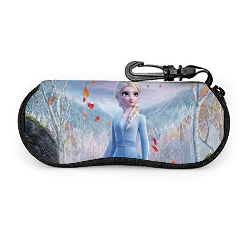 F-Rozen Cartoon Gses Case con mosquetón, ultra ligero portátil viaje neopreno cremallera sunses suave caso almacenamiento caja para