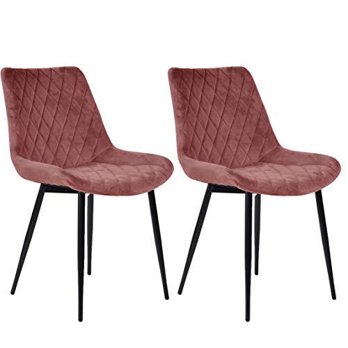 Nimara 2er Set Samt Stuhl Samtstuhl Esszimmerstuhl rosa | Polsterstuhl skandinavisches Design | In der Küche, Wohnzimmer, Esszimmer anwendbar | Samtstuhl mit Metallbeinen von hoher Qualität