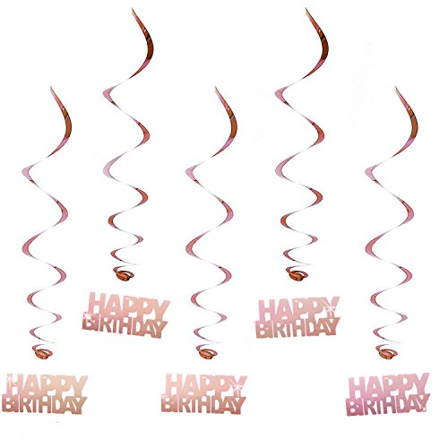 Oblique-Unique® Hänge-Deko Happy Birthday Geburtstag Rose Gold- mit Bänder und Ösen 5er Pack