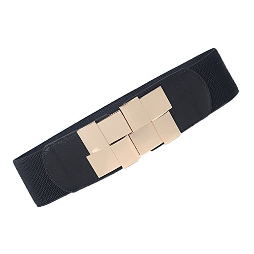 iShine Cintura Elastica in Ecopelle Pelle Sintetica Nero Cintura Ornamento per Donna