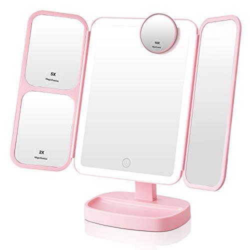 EASEHOLD Schminkspiegel mit 38 LED Licht, Kosmetikspiegel mit 2/5/10 Fach Vergrößerung, 180 ° drehbare Drehung, Make Up Spiegel für...