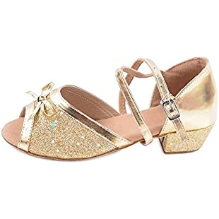 OCHENTA Girls' Glittering Ankle Strap Latin Salsa Dance Shoes Ballroom Gold Tag 27 - UK 11.5 Little Kid