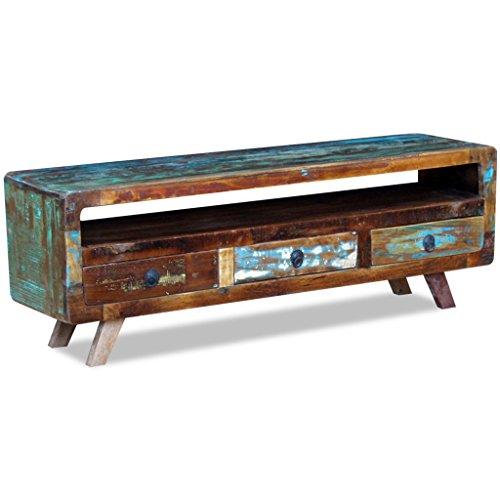 Festnight Vintege TV Cabinet Sideboard Table with 3 Storage Drawers Reclaimed Wood TV Stand Living Room Furniture