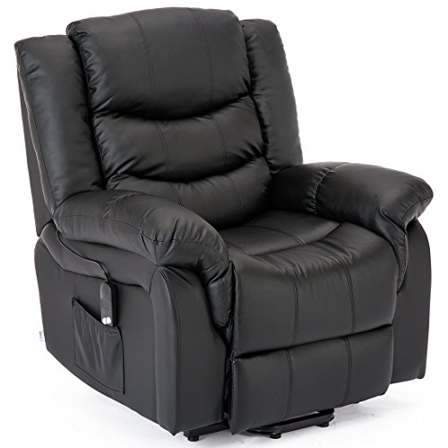 More4Homes SEATTLE ELECTRIC RISE RECLINER BONDED LEATHER ARMCHAIR SOFA HOME LOUNGE RISER CHAIR (Black)
