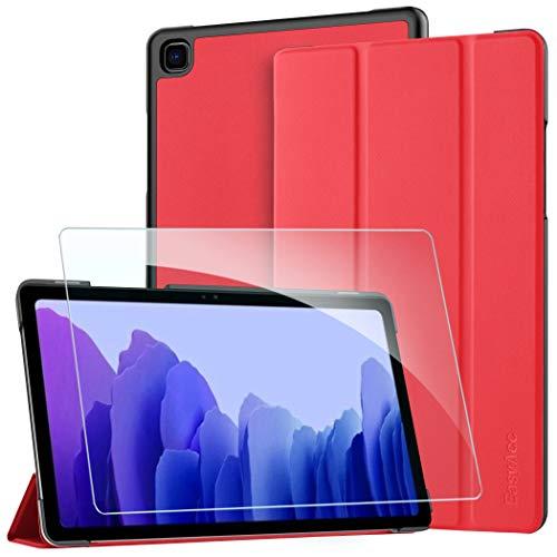 EasyAcc Custodia Cover + Pellicola Protettiva Compatibile con Samsung Galaxy Tab A7 10.4 2020, Ultra Sottile Smart Cover in Pelle Vetro Temperato Protezioni Pellicola per SM-T500/T505 Tablet, Rosso