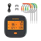 Inkbird WiFi Meat Grill Thermometer, Wireless BBQ Thermometer with Rechargeable, Calibration, 4 Colored Probes, LCD Screen, Remote Digital Cooking Food Grill Thermometer