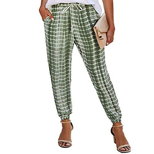 Hhckhxww Pantalones EláSticos con Estampado Tie-Dye De Rayas para Mujer