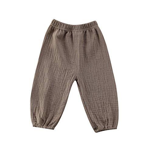 CHRONSTYLE Baby Baby Baumwolle Leinen Hosen | Kleinkind Baby Boy Girl Casual elastische Pluderhosen Sommer Bloomers Kleidung (Khaki, 1-2T)