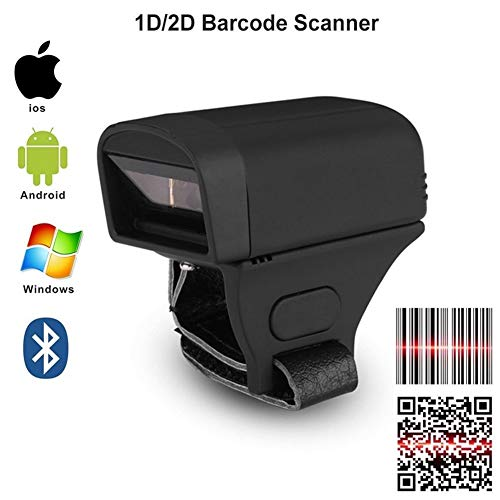 Best Deals! Pocket Wireless Bluetooth Finger Wearable Ring 2D QR Bar Code Scanner 1D CCD PDF417 2D B...
