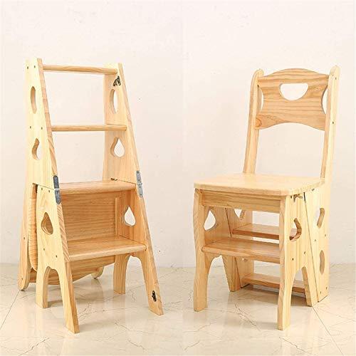 Sicherer Hochstuhl Holzleiterhocker, Faltbarer und mehrzweck-Stuhlstuhl für Erwachsene und Kinder-Blumenständer/einfaches Regal/Babystuhl B Einfach zu montierender Esszimmerstuhl (Color : B)