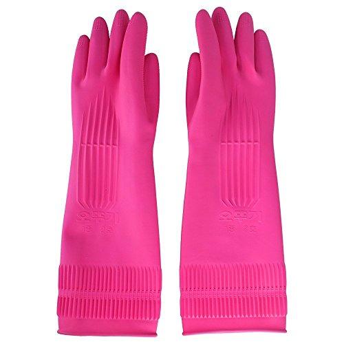 Top819Trade Putz-Handschuhe; wiederverwendbare, lange Gummi-Handschuhe für Küche, Haushalt, Geschirrspülen. M-pink