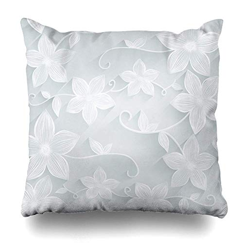 N/C Throw Pillow Cover Herbal Gray Flower Floral Pattern Purple Flourish Bloom Blooming Blossom Botany Design Ornamental Zippered Pillowcase Square Size 18 x 18 Inches Home Decor Pillow Case