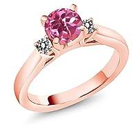 Gem Stone King 1.2カラット 天然 ミスティックトパーズ (ピンク) 指輪 リング レディース 天然 ダイヤモンド シルバー925 ピンクゴールドコーティング