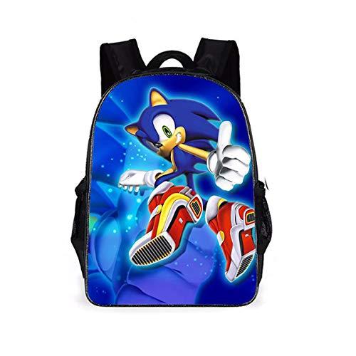 LDYQ Sonic Rucksäcke Sonic Tasche Mädchen Jungen Schultaschen Sonic The Hedgehog Cartoon Tasche Modeaccessoire Sonic Rucksack für Kinder Schultaschen Kinder Geschenk