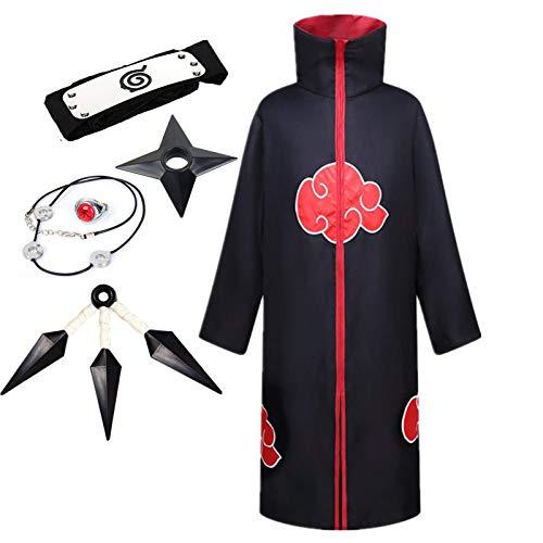 LCXYYY Disfraz de Naruto, Akatsuki Uchiha Itachi Traje de Cosplay Anime Naruto para Halloween Navidad Fiestas Disfraces Capa Trajes y Accesorios para Niños Adulto