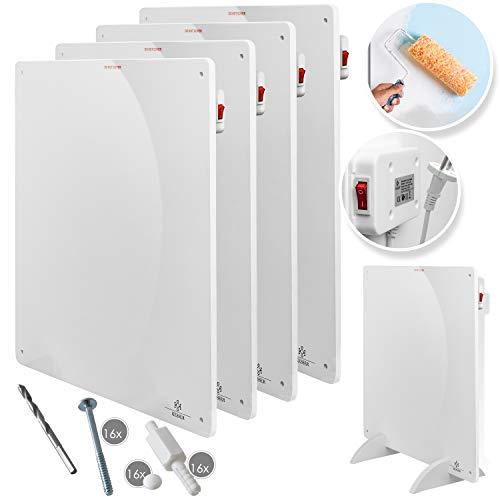 KESSER® 4x Infrarotheizung 425 Watt Wandheizung ✓ Infrarot ✓ Heizung ✓ Heizkörper | Heizpaneel| Inkl.Standfüßen NEU | 4er Set