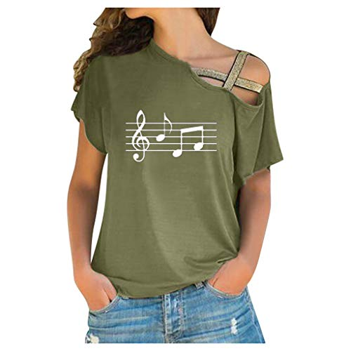 Auifor vrouwen dames casual cross schouder onregelmatige korte mouwen t-shirt blouse