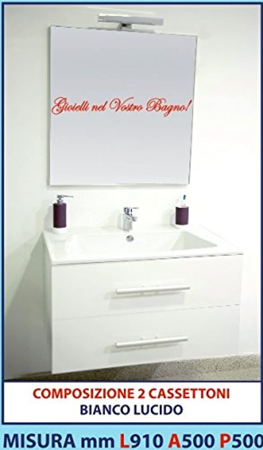 Veneto Produce Qualità Luisa 39?–?Composition Mobile Glossy White ABS 2?Storage Drawers, Sink, Mirror and LED lamp 910?mm