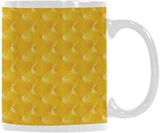 Yellow Trend Mug,Abtract Shaded Curving Lines and Swirling Motifs Patterns Style Crystal Decorative Living for Office Travel,3