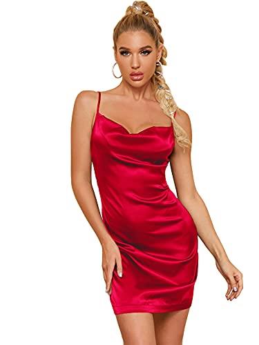 DIDK Damen Satin Kleid Cowl Partykleid Spaghettiträger Abendkleid Bodycon Bleistiftkleid Elegant Camisole Knielang Kleider Rot S
