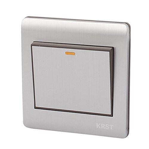 DealMux On/Off Pulse el botón 1 Altura 1 Camino pared del hogar del interruptor de la luz gris plata