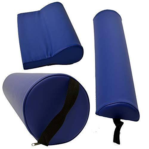Massagezubehör Set 3 bestehend aus 1x Vollrolle Knierolle mit Griff 1x Lagerungsrolle Halbrolle und 1x Nackenkissen Kopfstütze für die Massageliege wasserabweisend in Blau