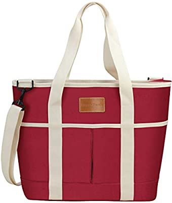 HappyPicnic 16L Large Insulated Bag, 25CAN Waterproof Cooler Carrier Bag, Thermal Picnic Tote, Lunch Bags for Outdoor Camping,Beach Day or Travel, Collapsible Grocery Shopping Storage Bag - Red