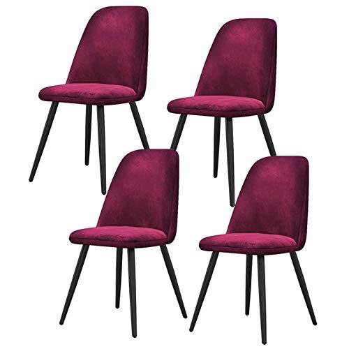 LLLD 4X Sillas De Comedor Nordicas Estilo Vintage Juego De 4 Sillas Cocina Sillas Tapizadas En Tela Franela Estructura Metal Sillas Comedor (Color : Purple)