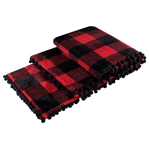 """PiccoCasa Buffalo Plaid Flannel Throw Blanket with Pom Poms 