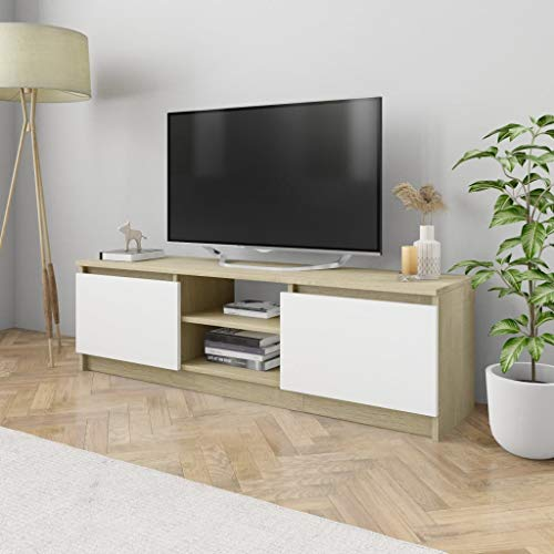 vidaXL Mueble de TV de Aglomerado Mobiliario Soporte Centro Multimedia Accesorios Diseño Moderno Práctico Duradero Blanco Roble Sonoma 120x30x35.5cm