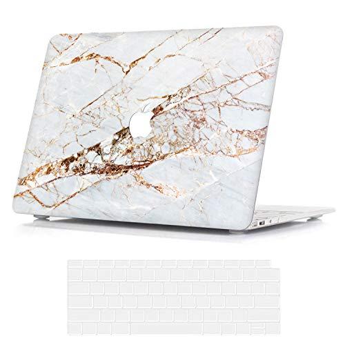 Belk Hülle Kompatibel mit MacBook Air 13 Zoll 2020 2019 2018 mit Retina Display & Touch ID A2337 M1 A2179 A1932, Ultra Dünn Plastik Druck Muster Hartschale Schutzhülle Case & Tastaturschutz, Marmor