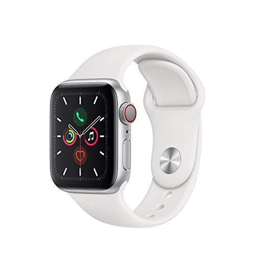Apple Watch Series 5 (GPS + Cellular, 40 mm)  Aluminio en Plata - Correa Deportiva Blanco