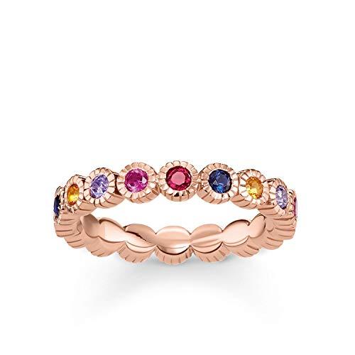Thomas Sabo - Anillo de Mujer'Royalty piedras de colores', Plata de Ley 925, baño de oro rosa de 18 quilates, Talla 54