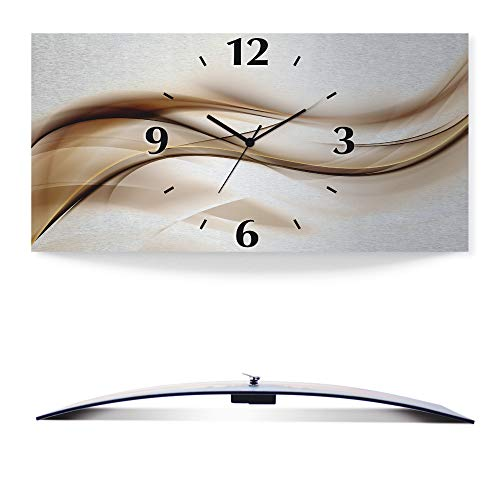 Artland Wanduhr ohne Tickgeräusche 3D Alu Funk Uhr Silber metallic lautlos 60x30 cm Schön abstrakt braun Welle Design Hintergrund T9LI