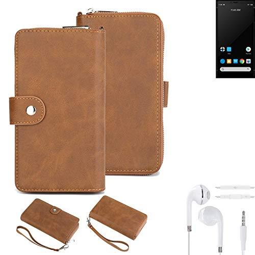 K-S-Trade® Handy-Schutz-Hülle Für Carbon 1 MKII + Kopfhörer Portemonnee Tasche Wallet-Hülle Bookstyle-Etui Braun (1x)