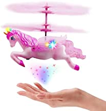 Flying Helicopter Unicorn Toys Gifts for 6 7 8 9 10 Year Old Girls Birthday Christmas Party Gifts - Mini RC and Hand Control Flying Helicopter Fairy Unicorn Doll - Pink