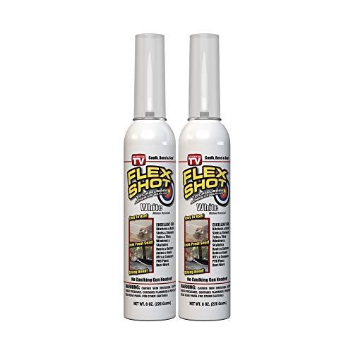 Flex Shot Rubber Adhesive Sealant Caulk, 8-oz, White (2 Pack)(Mildew Resistant)