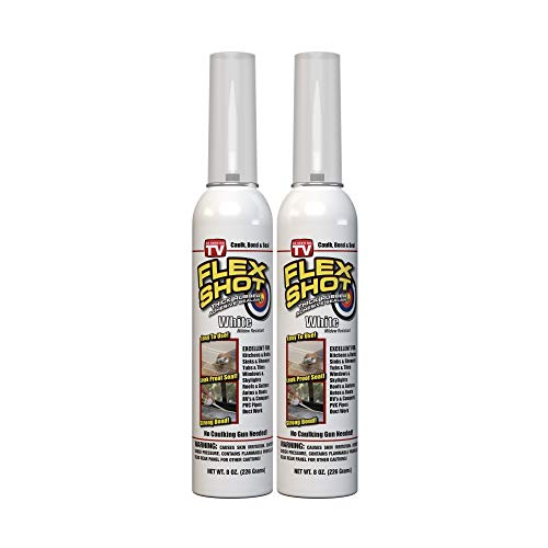 Flex Shot Rubber Adhesive Sealant Caulk, 8-oz, White (2 Pack)(Mildew Resistant)