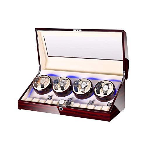 XIUWOUG Automatischer Uhrenbeweger Box 8 + 12, Uhrenbeweger Box, mit Blauem LED-Licht, In Holzschale und Leder, Ziemlich Motoren, Fit Damen und Herrenuhren (Color : A)
